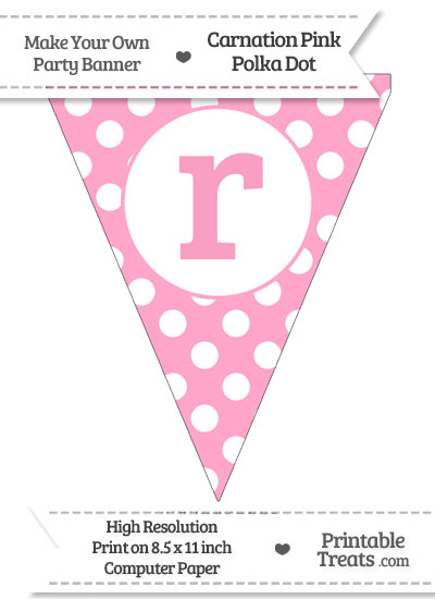 Carnation Pink Polka Dot Pennant Flag Lowercase Letter R from PrintableTreats.com