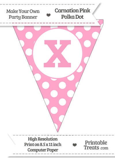 Carnation Pink Polka Dot Pennant Flag Lowercase Letter X from PrintableTreats.com