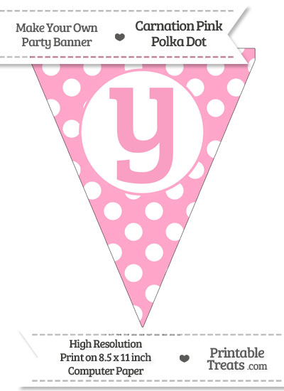 Carnation Pink Polka Dot Pennant Flag Lowercase Letter Y from PrintableTreats.com