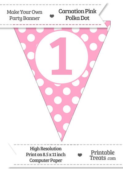 Carnation Pink Polka Dot Pennant Flag Number 1 from PrintableTreats.com