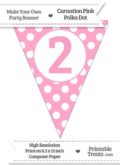 Carnation Pink Polka Dot Pennant Flag Number 2 from PrintableTreats.com