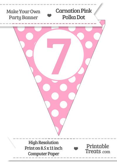 Carnation Pink Polka Dot Pennant Flag Number 7 from PrintableTreats.com