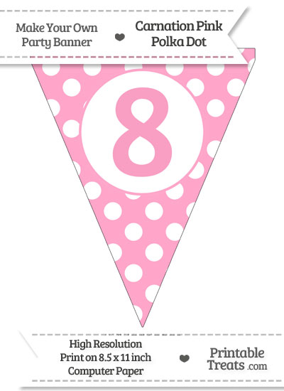 Carnation Pink Polka Dot Pennant Flag Number 8 from PrintableTreats.com