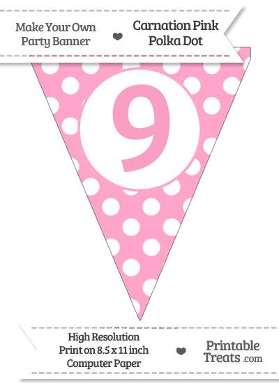 Carnation Pink Polka Dot Pennant Flag Number 9 from PrintableTreats.com