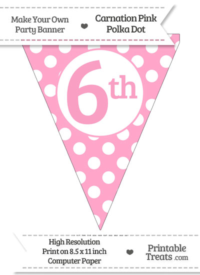 Carnation Pink Polka Dot Pennant Flag Ordinal Number 6th from PrintableTreats.com