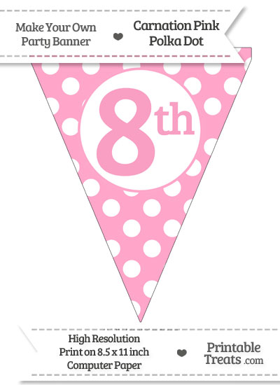 Carnation Pink Polka Dot Pennant Flag Ordinal Number 8th from PrintableTreats.com