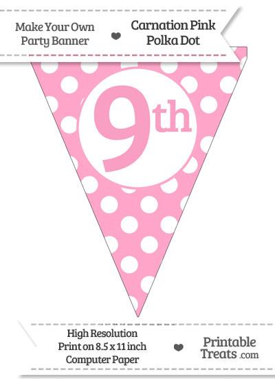 Carnation Pink Polka Dot Pennant Flag Ordinal Number 9th from PrintableTreats.com