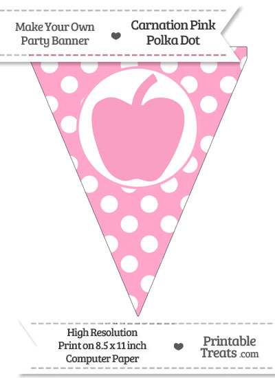 Carnation Pink Polka Dot Pennant Flag with Apple from PrintableTreats.com
