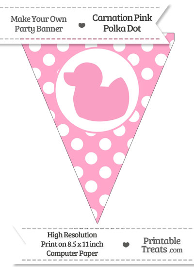 Carnation Pink Polka Dot Pennant Flag with Duck Facing Left from PrintableTreats.com