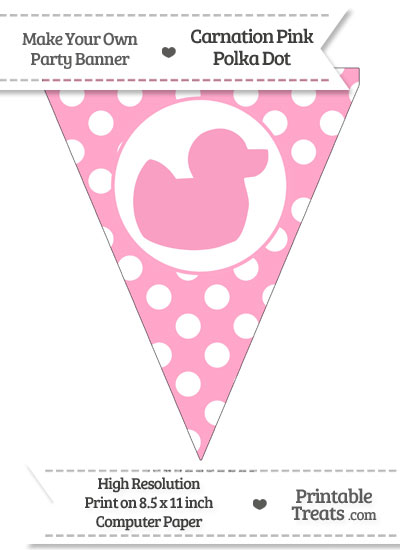 Carnation Pink Polka Dot Pennant Flag with Duck Facing Right from PrintableTreats.com
