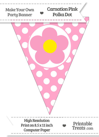 Carnation Pink Polka Dot Pennant Flag with Flower from PrintableTreats.com