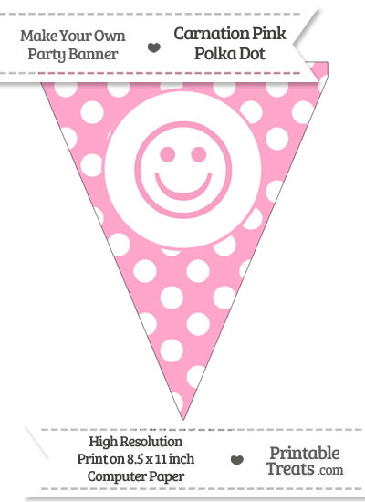 Carnation Pink Polka Dot Pennant Flag with Smiley Face from PrintableTreats.com