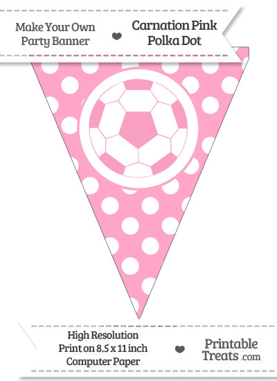 Carnation Pink Polka Dot Pennant Flag with Soccer Ball from PrintableTreats.com