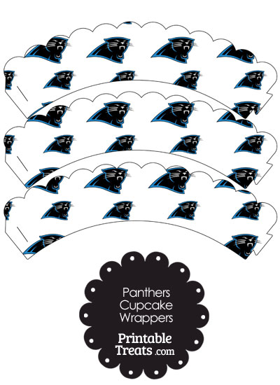 Carolina Panthers Logo Scalloped Cupcake Wrappers from PrintableTreats.com
