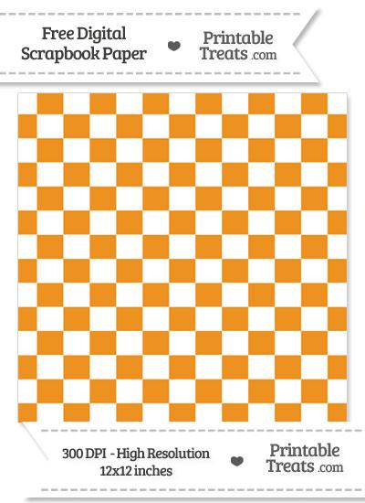 Carrot Orange Checkered Pattern Digital Paper from PrintableTreats.com