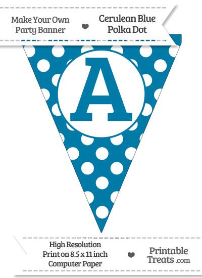 Cerulean Blue Polka Dot Pennant Flag Capital Letter A from PrintableTreats.com