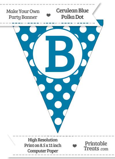 Cerulean Blue Polka Dot Pennant Flag Capital Letter B from PrintableTreats.com
