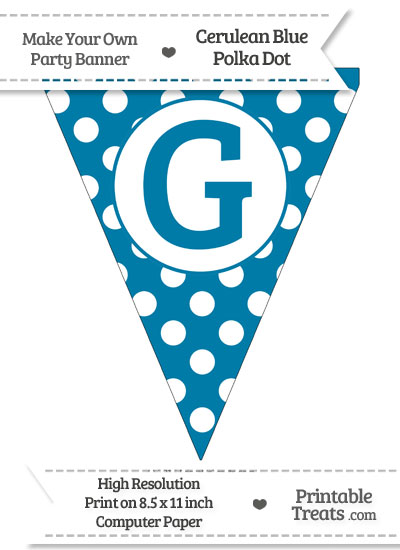 Cerulean Blue Polka Dot Pennant Flag Capital Letter G from PrintableTreats.com
