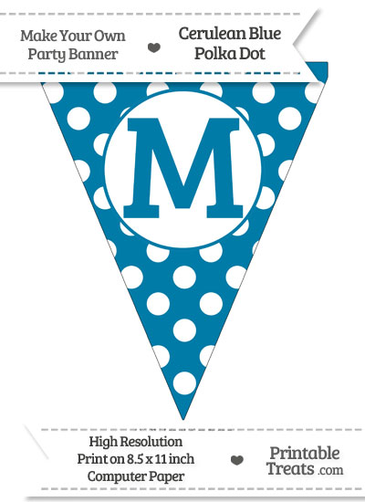 Cerulean Blue Polka Dot Pennant Flag Capital Letter M from PrintableTreats.com