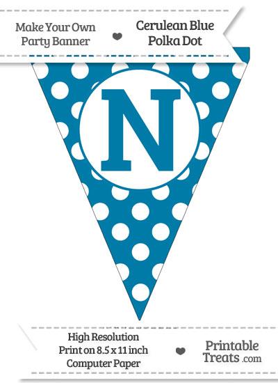 Cerulean Blue Polka Dot Pennant Flag Capital Letter N from PrintableTreats.com