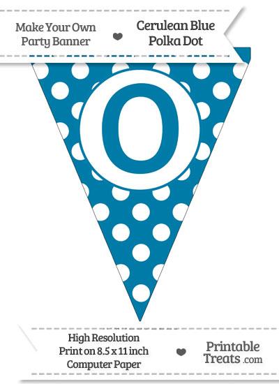 Cerulean Blue Polka Dot Pennant Flag Capital Letter O from PrintableTreats.com
