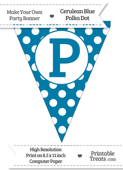 Cerulean Blue Polka Dot Pennant Flag Capital Letter P from PrintableTreats.com