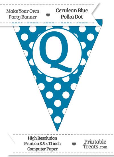 Cerulean Blue Polka Dot Pennant Flag Capital Letter Q from PrintableTreats.com
