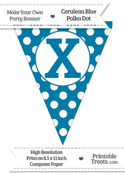 Cerulean Blue Polka Dot Pennant Flag Capital Letter X from PrintableTreats.com