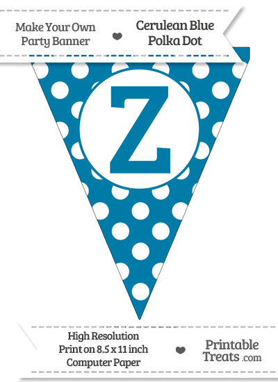 Cerulean Blue Polka Dot Pennant Flag Capital Letter Z from PrintableTreats.com