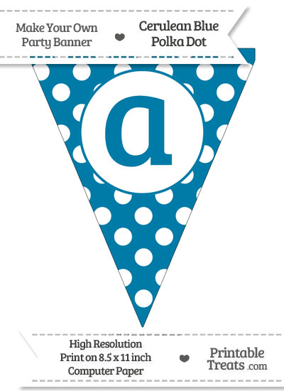 Cerulean Blue Polka Dot Pennant Flag Lowercase Letter A from PrintableTreats.com