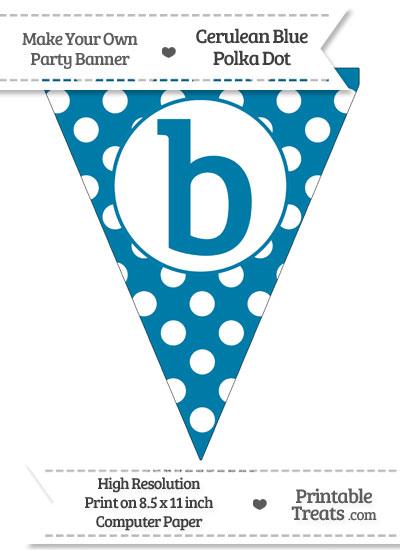 Cerulean Blue Polka Dot Pennant Flag Lowercase Letter B from PrintableTreats.com