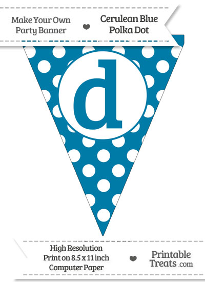Cerulean Blue Polka Dot Pennant Flag Lowercase Letter D from PrintableTreats.com