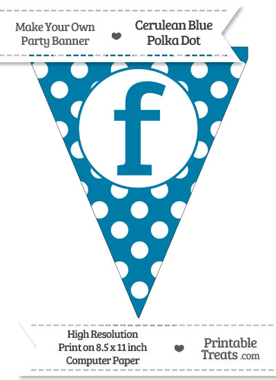 Cerulean Blue Polka Dot Pennant Flag Lowercase Letter F from PrintableTreats.com