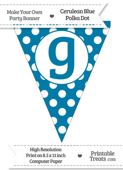 Cerulean Blue Polka Dot Pennant Flag Lowercase Letter G from PrintableTreats.com