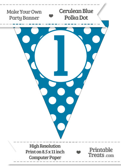 Cerulean Blue Polka Dot Pennant Flag Lowercase Letter L from PrintableTreats.com