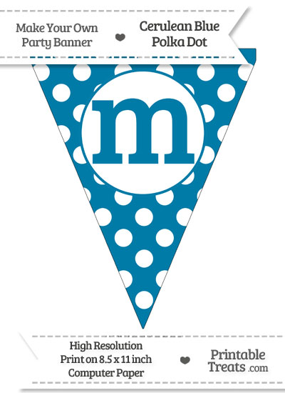 Cerulean Blue Polka Dot Pennant Flag Lowercase Letter M from PrintableTreats.com