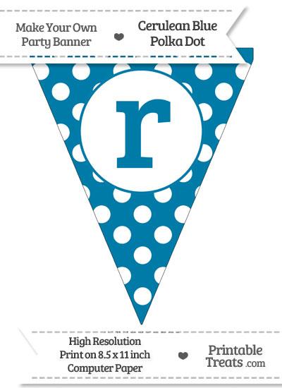 Cerulean Blue Polka Dot Pennant Flag Lowercase Letter R from PrintableTreats.com