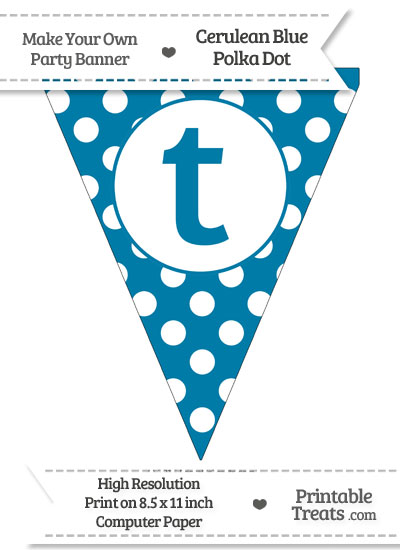 Cerulean Blue Polka Dot Pennant Flag Lowercase Letter T from PrintableTreats.com