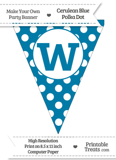 Cerulean Blue Polka Dot Pennant Flag Lowercase Letter W from PrintableTreats.com