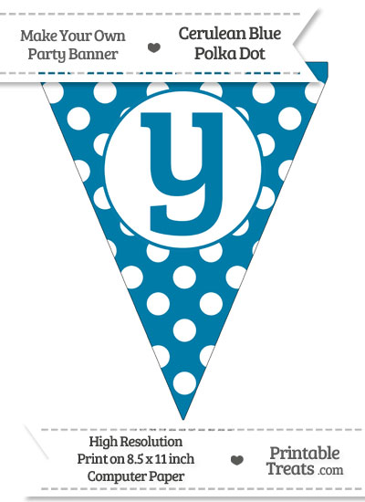 Cerulean Blue Polka Dot Pennant Flag Lowercase Letter Y from PrintableTreats.com
