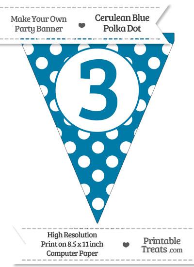 Cerulean Blue Polka Dot Pennant Flag Number 3 from PrintableTreats.com