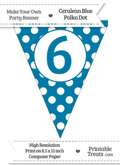 Cerulean Blue Polka Dot Pennant Flag Number 6 from PrintableTreats.com
