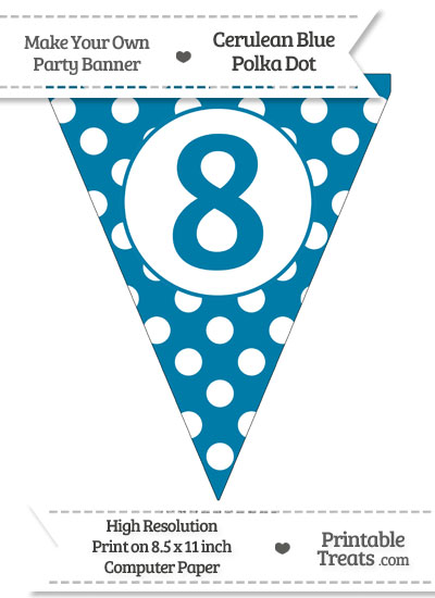 Cerulean Blue Polka Dot Pennant Flag Number 8 from PrintableTreats.com