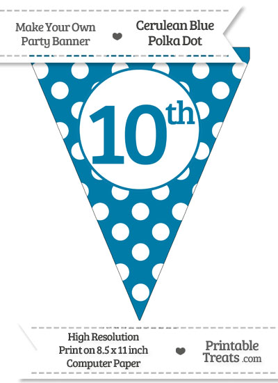 Cerulean Blue Polka Dot Pennant Flag Ordinal Number 10th from PrintableTreats.com