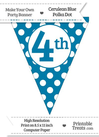 Cerulean Blue Polka Dot Pennant Flag Ordinal Number 4th from PrintableTreats.com