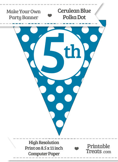 Cerulean Blue Polka Dot Pennant Flag Ordinal Number 5th from PrintableTreats.com