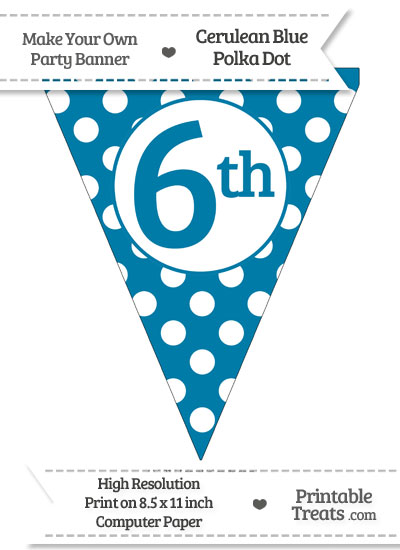 Cerulean Blue Polka Dot Pennant Flag Ordinal Number 6th from PrintableTreats.com