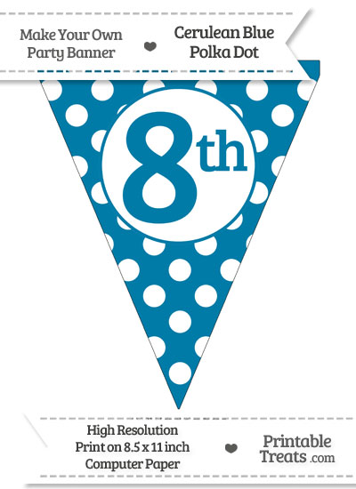 Cerulean Blue Polka Dot Pennant Flag Ordinal Number 8th from PrintableTreats.com