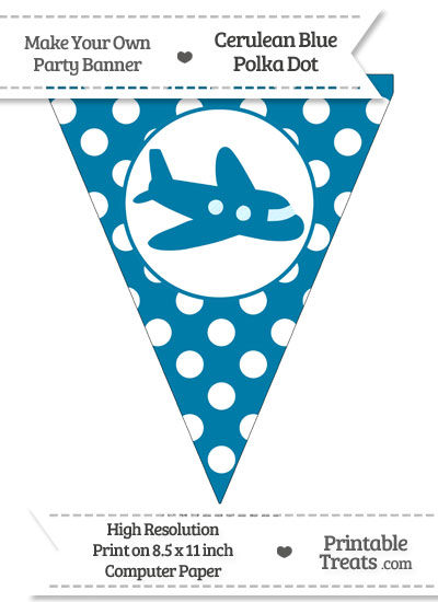Cerulean Blue Polka Dot Pennant Flag with Airplane Facing Right from PrintableTreats.com
