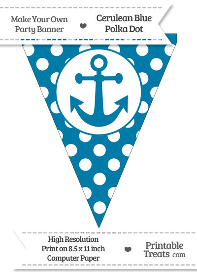 Cerulean Blue Polka Dot Pennant Flag with Anchor from PrintableTreats.com